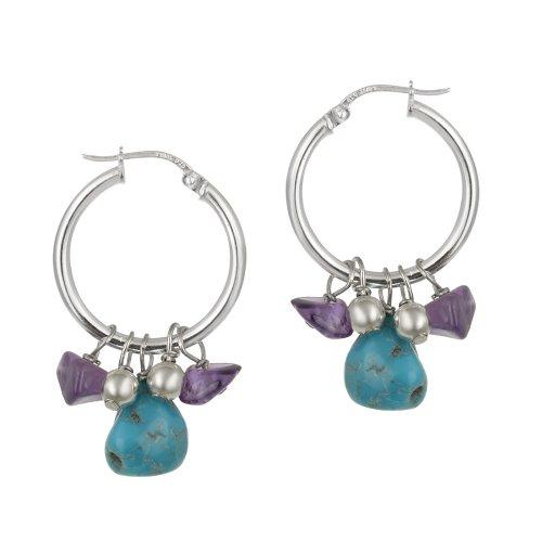 Sterling Silver Bead, Turquoise and Amethyst Drops Hoop Earrings
