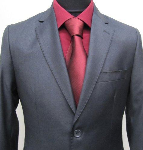 MUGA mens Suit elegant, Slim-line, Anthracite/Darkgrey, Size 38R (EU 48)