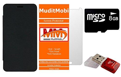 MuditMobi Flip Cover With Screen Protector & 8GB Memory Card, Card Reader For- Lava Iris X5 4G - Black