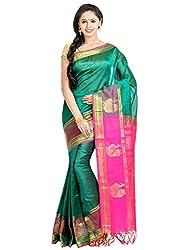 Anagha Handloom Jacquard Kanjivaram Silk-Cotton Saree - Green