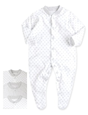 3 Pack Pure Cotton Star Print & Striped Sleepsuits