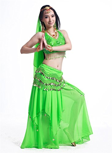 Dreamspell Womens Dancing Suit, Indian Style Belly Dance Green Costumes
