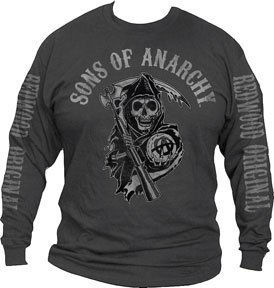 Sons of Anarchy Logo Long Sleeve T-Shirt (Size XXL/Grey)