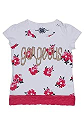 Chalk by Pantaloons Girl's Round Neck T-Shirt (205000005609321, White, 3-4 Years)