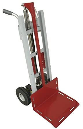 "Lift'n Buddy B250 Aluminum Frame Electric Hand Truck with Electrak Pro Actuator, 10"" Dia x 4-1/2"" Width Wheel, 250 lbs Capacity"