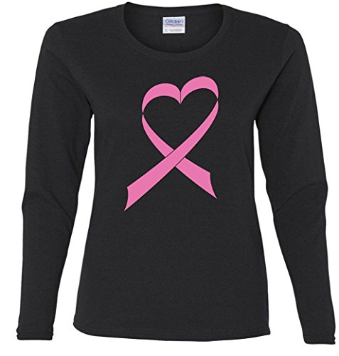 Heart Breast Cancer Ribbon Ladies Missy Fit long sleeve T-Shirt