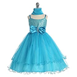 Chic Baby Girl Turquoise Sequin Flower Girl Pageant Easter Dress 2T-14