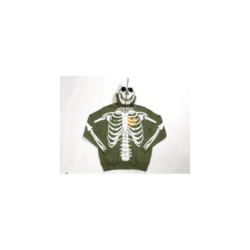 Lrg Dead Serious Skeleton Hoodie Olive Green On Popscreen