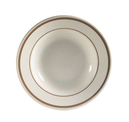 CAC China AZ-3 Arizona 9-Inch Brown Rim Brown Speckled American White Stoneware Rimmed Soup Plate, Box of 24
