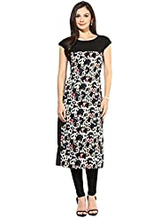 Queen Creation Women's Crepe Black Colour Printed Kurti(Black Colour)