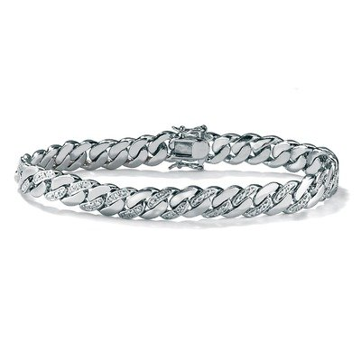 Platinum Plated Men's Diamond Accent Curb Bracelet