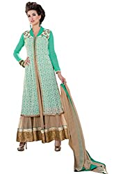 BanoRani Green Color Faux Georgette & Net Embroidery Full Length Anarkali Gown Style with Long Jacket Semi Stitched Dress Material