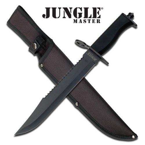 "Master Cutlery JM-001LB Jungle Master 15"" Jungle Master Hunting Knife Black Blade with Sheath"