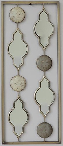 """New All American Collection Aluminum/ Metal Wall Decor with Frame 10""""x24"""" (Moroccan Mirrors with Circles)"""