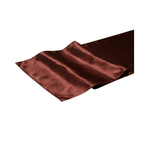 La Linen™ 14X108-Inch Polyester Satin Table Runner, Brown. Made In Usa. front-516649