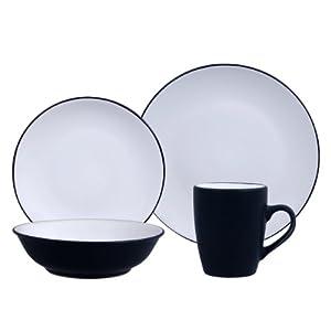 gibson vivendi 2 tone dinnerware set 16 piece white black dinnerware sets. Black Bedroom Furniture Sets. Home Design Ideas