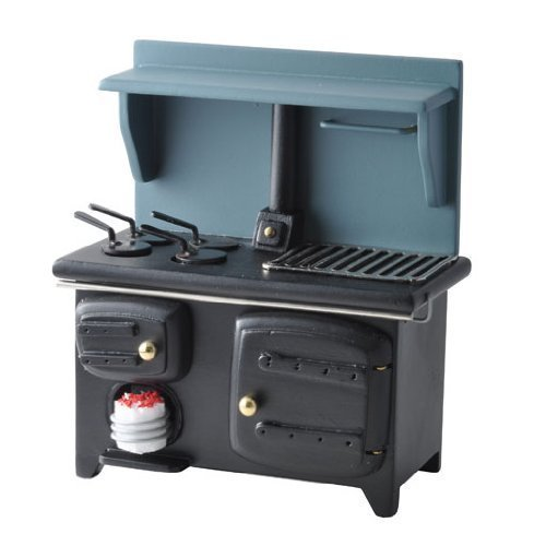 Dollhouse Miniature Black Wood-burning Stove (Miniature Wood Burning Stove compare prices)