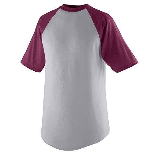 Augusta Sportswear MEN'S SHORT SLEEVE BASEBALL JERSEY L Athletic Heather/Maroon (Customize Baseball Jersey compare prices)