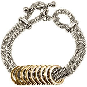 AmalfiTM Stainless Steel Mesh Bracelet with Gold Immersion Plated Circles 7.5 inches $59.99