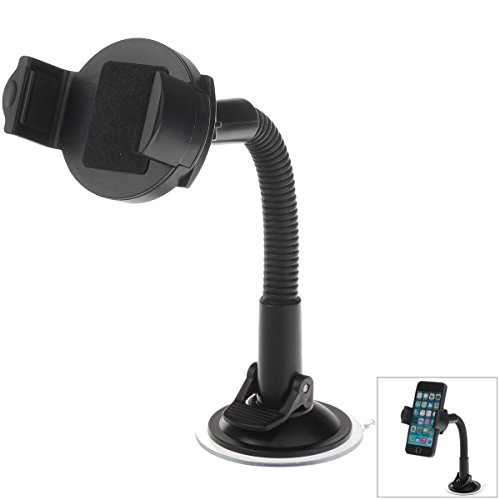 Latecat H05 360 Degree Rotation Suction Cup Holder w/ C46 Mini Back Clip for Iphone 4 / 4S / 5 -Black