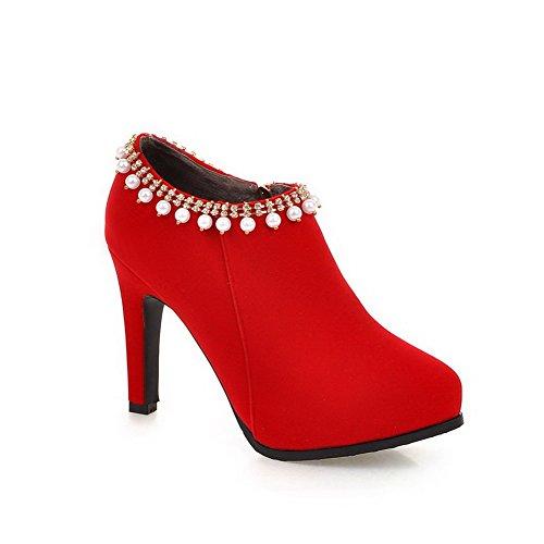 VogueZone009 Donna Punta Tonda Alla Caviglia Tacco A Spillo Puro Stivali con Gioielli, Rosso, 37