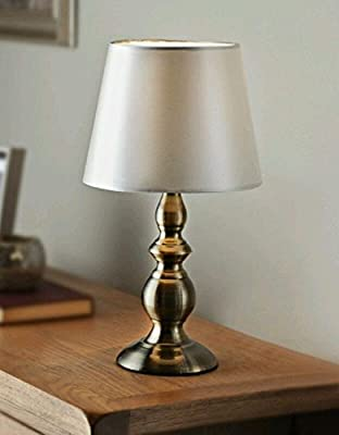 Harvard Table Lamp Antique Style Gold Base & Cream Satin Effect Lampshade
