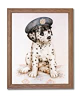 Dalmatian Puppy Dog Police Hat Animal Home Decor Wall Picture Oak Framed Art Print