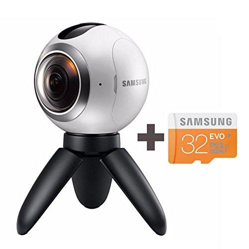 Samsung Gear 360 Degree Spherical Camera (SM-C200) + Micro SD 32GB Spherical Camera SM-C200 for Galaxy S7, S7 Edge, S6, S6 Edge, S6 Edge Plus, Note 5 (International Version – No Warranty)