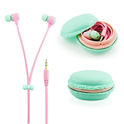 Blue 3.5mm In Ear Earphones Earbuds Headset with Macaron Case For LG GM360 Viewty Snap (Lg Gm360 Case compare prices)