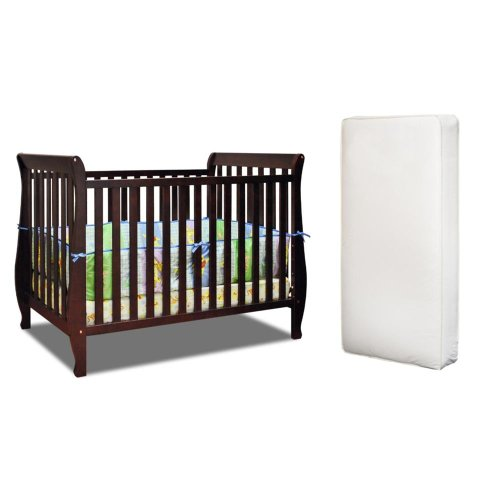 Baby Mile Hannah 4-In-1 Convertible Crib With Toddler Rail And Luxe Crib Mattress, Cherry front-1055084