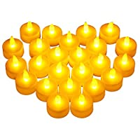Victsing 24 Pack Flameless Candles - Warm Yellow Battery Operated Tea Lights Realistic Unscented LED Candles - For Parties,Votives, Tealight Holders Fall Decor, Diwali, Halloween, Christmas Decoration by VicTsing