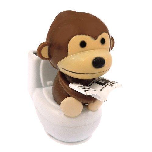 Solar Power Motion Toy - Monkey on Toilet - Brown