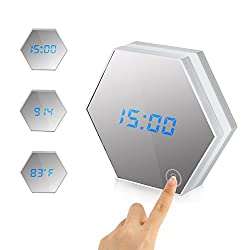 Accmor Touch LED Night Light Alarm Clock, Digital Display Clock with Makeup Mirror, Built-in 2000mA Rechargeable Battery, Led Table Lamp Travel Alarm Clock(Silver)