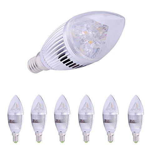 6X 12W High Power E14 Led Candle Light Warm White Bulb 4X3W Lights Silver