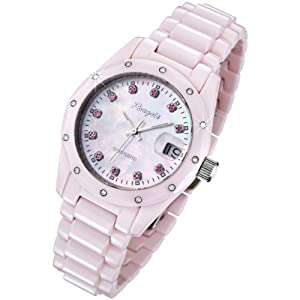 Rougois Women's Pink Ceramic Watch with Genuine Diamonds, Red Rubies, and Mother of Pearl Dial