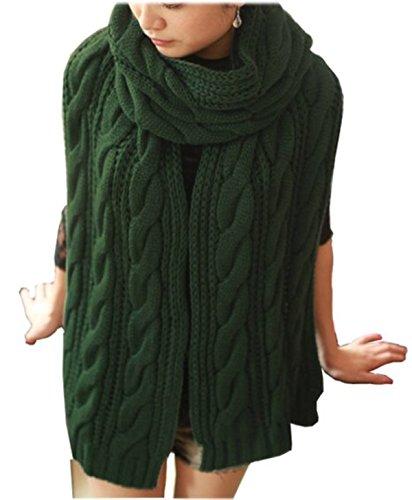 Evas-Eye-Womens-Girls-Thick-Knit-Long-Twist-Shoulder-Scarf-Warm-Shawl-Green