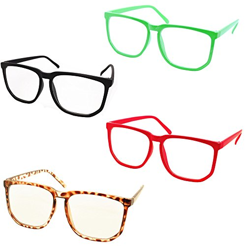 FancyG® Retro Vintage Inspired Classic Nerd Wayfarer Clear Lens Glasses 4 Pieces Set Black Red Green Leopard