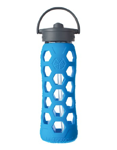 Lifefactory 22-Ounce Glass Bottle with Straw Cap and Silicone Sleeve, Ocean