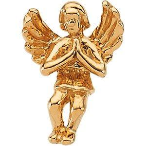 14K Yellow Gold 12.00X09.00 MM Praying Angel Lapel Pin Ring Size 6