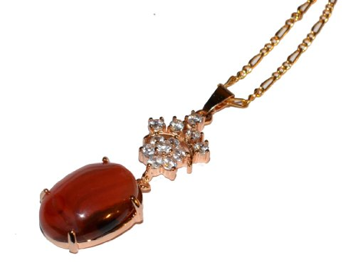 Women Red Carnelian Pendnat Necklace , Sparkling Crystal Rhinestone in Golden Colour Settings and 17 inches chain - Women Agate Jewelry