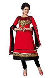 Govardhan Fashion red and black cottan Unstitched Dress Material