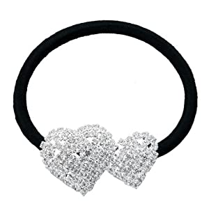 SODIAL(R) Silver Plated 2 Heart Rhinestone Elastic Band Hair Tie Ponytail Holder