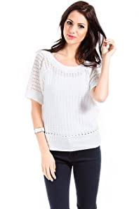 Cherry K Knitted Droop Sweater in White