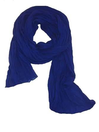 Chèche Écharpe Double Très Long 3 Mètres 100% coton Foulard bleu indigo