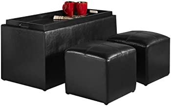 Sheridan Faux Leather Storage Bench with 2-Side Ottomans