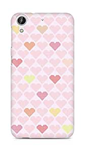 Amez designer printed 3d premium high quality back case cover for HTC Desire 626 LTE (hearts squares)