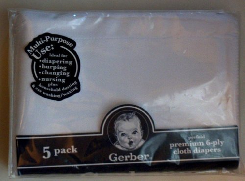 Gerber Prefold Premium 6-Ply Cloth Diapers, 5-Pack - 1