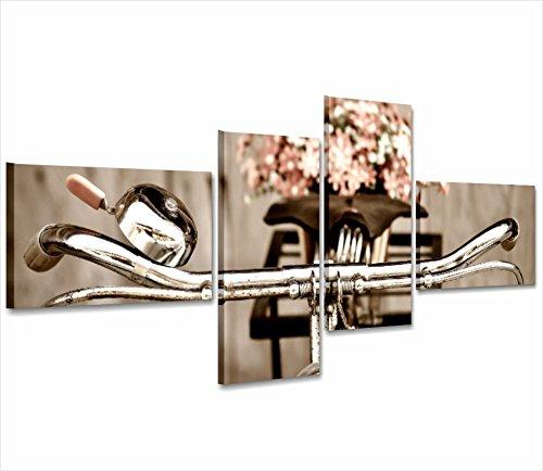 Bici vintage shabby - Quadro moderno su tela intelaiato 170x70 cm quadri arredamento shabby chic provenzale country wall art forniture home decor casa salotto ufficio spa hotel antico love rose bici cestino flower