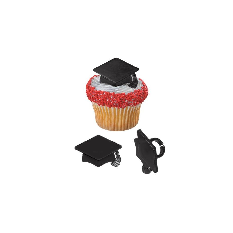 Graduation Cap Black   Cake Pick Rings (12) Party Supplies  Toys
