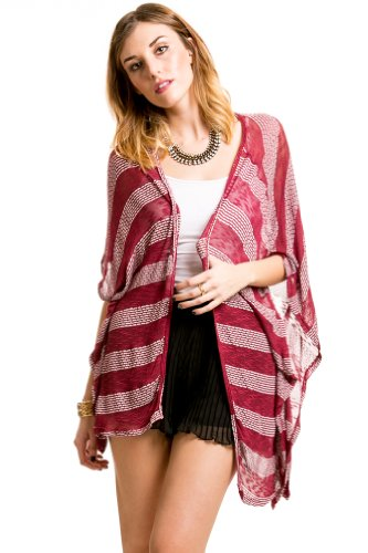 Striped Slouch Cardigan in Red/White